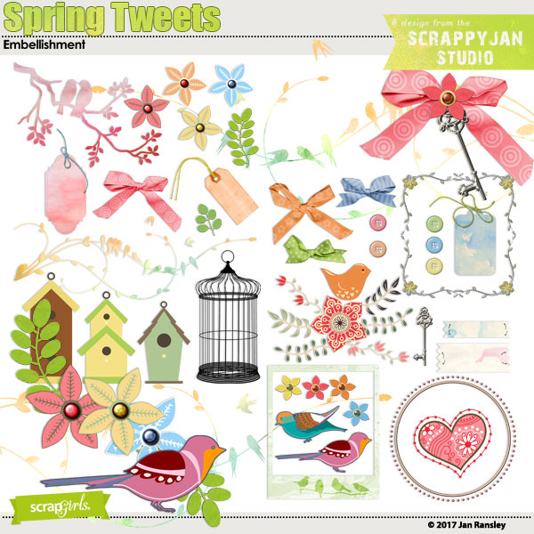 Spring Tweets Embellishments by Jan Ransley