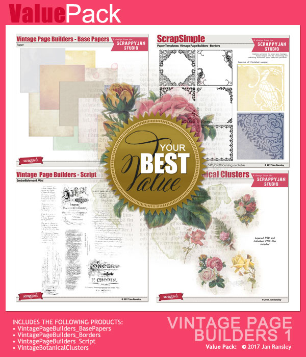 Vintage Page Builders Value Pack 1 by Jan Ransley