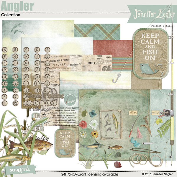 Angler digital scrapbooking kit, by Jennifer Ziegler