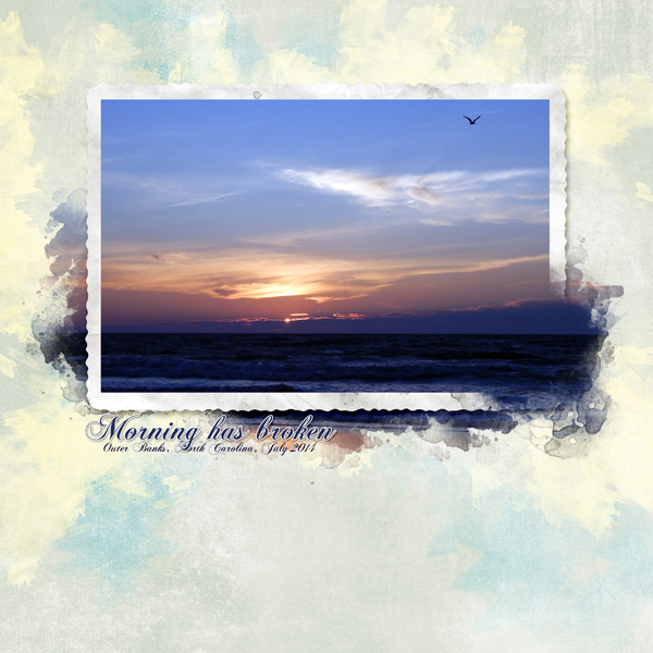 """""""Morning Has Broken"""" by Jennifer Ziegler, featuring ScrapSimple Embellishment Templates - Out of Bounds Frames"""
