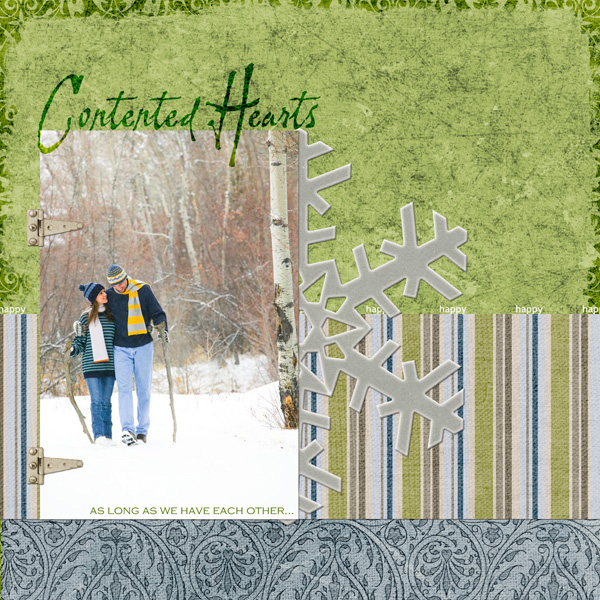 Layout by Keri Schueller uses Lettering Delights Painter's Hand Font, ScrapSimple Paper Templates: Broken In and Love Always 3, Urban Love Paper and Embellishment Biggie, Chipboard Snowflakes Embellishments and Tints and Tatters Embellishment Biggie.