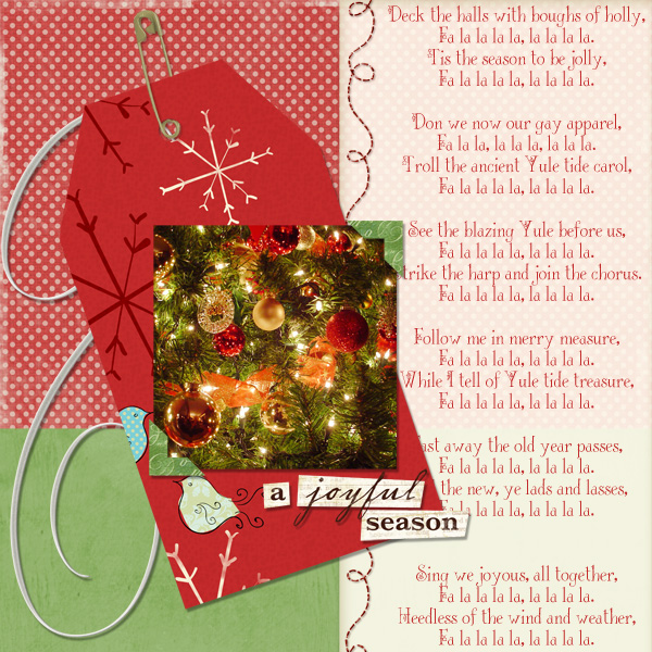 Layout by Keri Schueller uses Lettering Delights Deck The Halls Font, All Stitched Brush Set, A Joyful Season Embellishment Biggie, Chipboard Swirls Embellishments, Christmas Whimsy Paper Mini and Live Merry Paper.