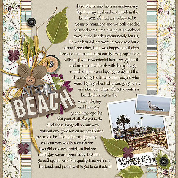 """""""At the Beach"""" digital layout by Laurel Lakey featuring Lettering Delights Ambrosia Bold Font"""