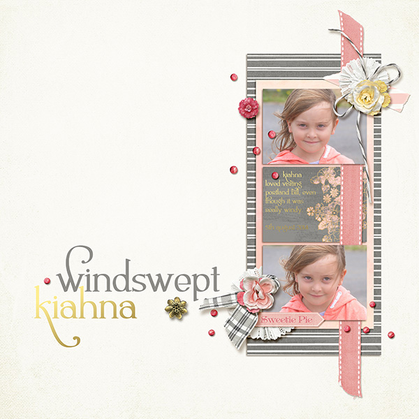 """""""Windswept Kiahna"""" digital layout by Valerie Tuffrey featuring Lettering Delights Ambrosia Bold Font"""