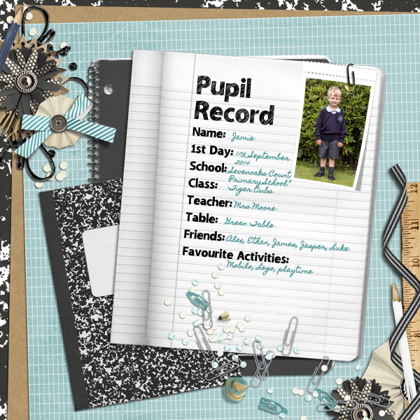 """Pupil Record"" digital layout by Anna Burrows featuring Lettering Delights Sketchbook Font"