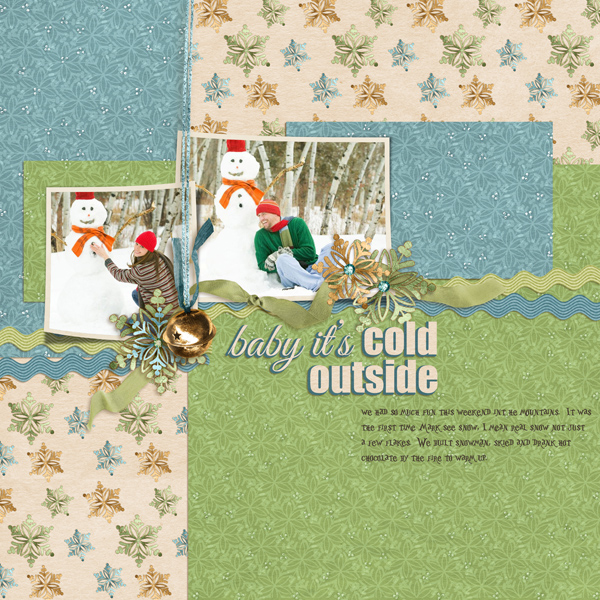 """Cold Outside"" digital scrapbook layout by Angie Briggs"