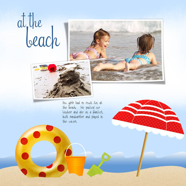 """Day At The Beach"" layout by Angie Briggs"