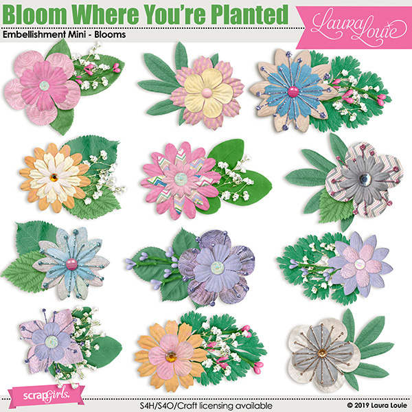 Bloom Where You're Planted Embellishment Mini - Blooms
