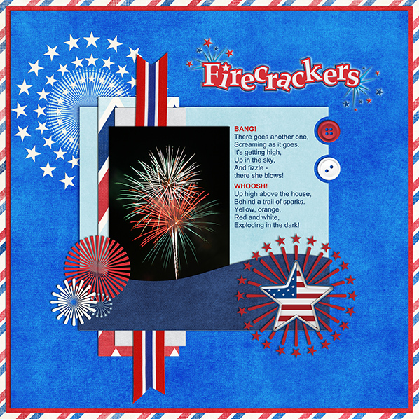 """""""4th of July Fireworks"""" Digital Scrapbook Layout by Laura Louie"""
