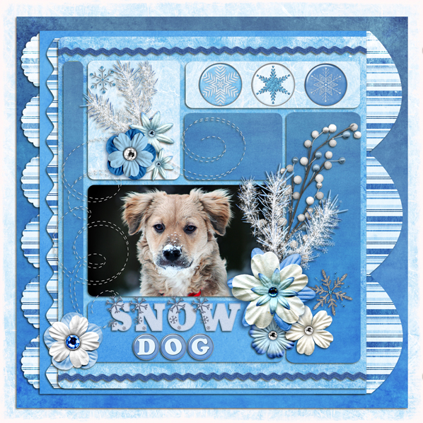 """Snow Dog"" Digital Scrapbook Layout by Laura Louie"