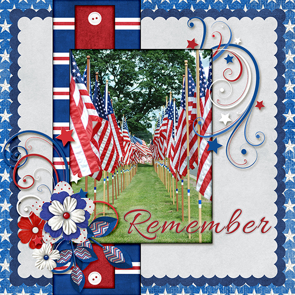 """Remember"" Digital Scrapbook Layout by Laura Louie"