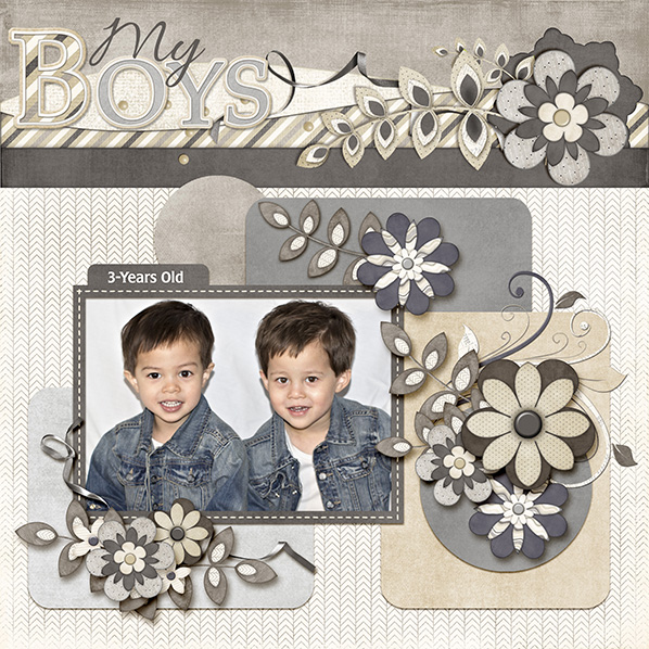 """My Boys"" Digital Scrapbook Layout by Laura Louie"