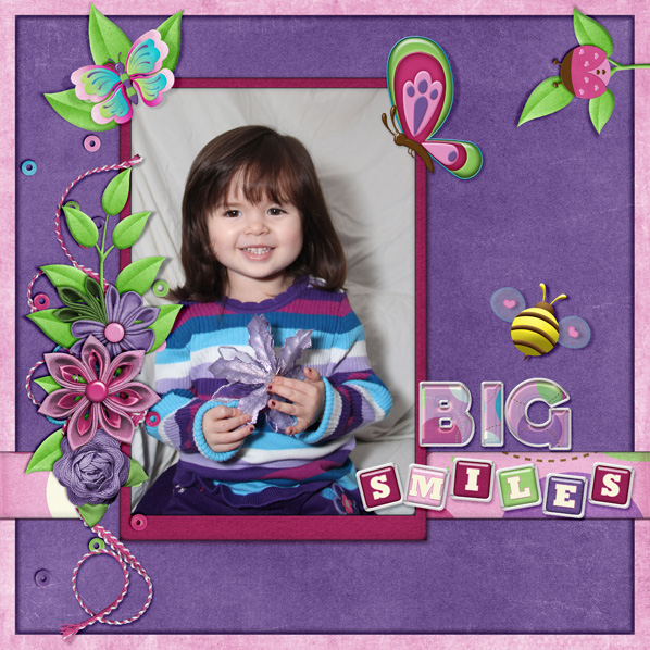 """Big Smiles"" Digital Scrapbook Layout by Laura Louie"