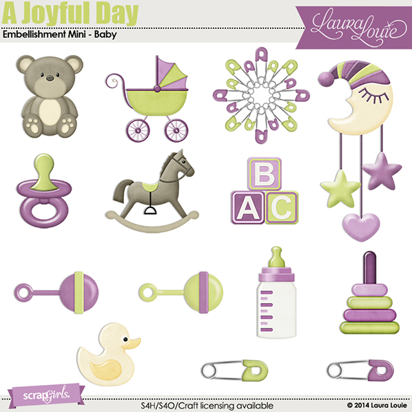 Customize your Joyful Day with baby embellishments!