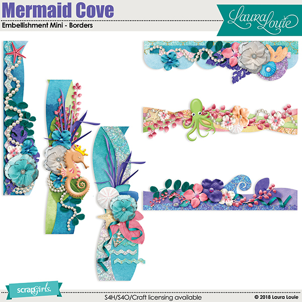 Mermaid Cove Embellishment Mini - Borders