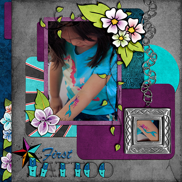"""First Tattoo"" Digital Scrapbook Layout by Laura Louie"
