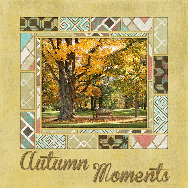 Autumn Moments Digital Scrapbook Layout shows Softly Shabby Papers in action!