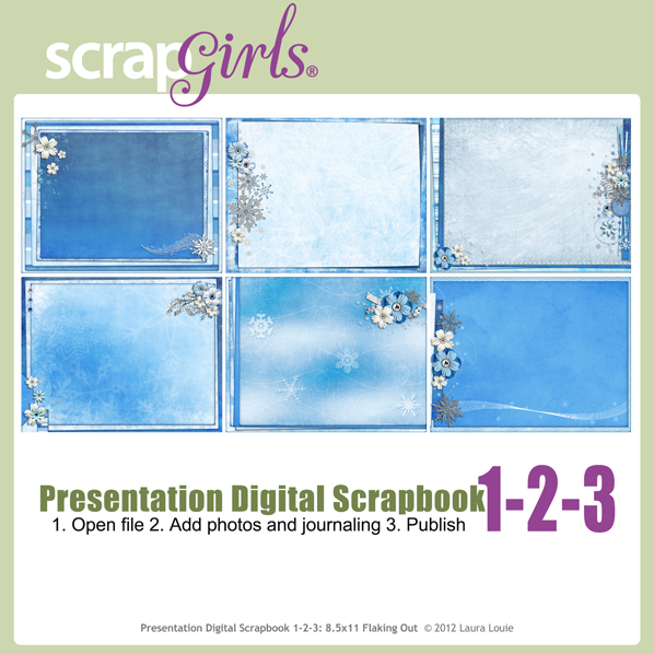 Also Available:  Presentation Digital Scrapbook 1-2-3:  8.5x11 Flaking Out