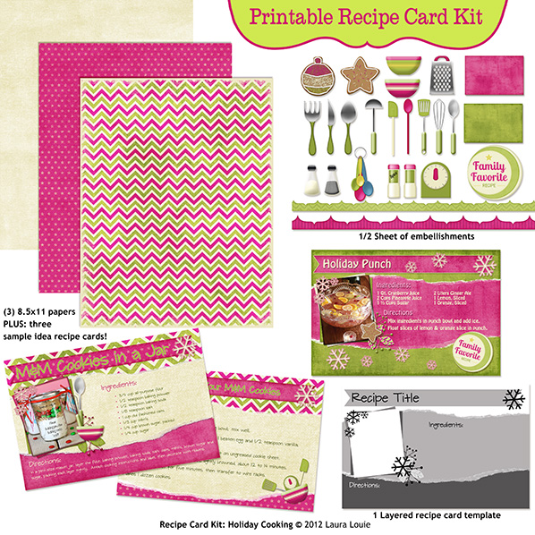 printable recipe page kit holiday cooking