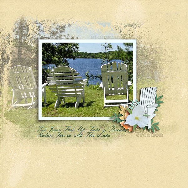 """Cottage Life"" digital scrapbook layout features Cottage Reflections  (see supply list below)"