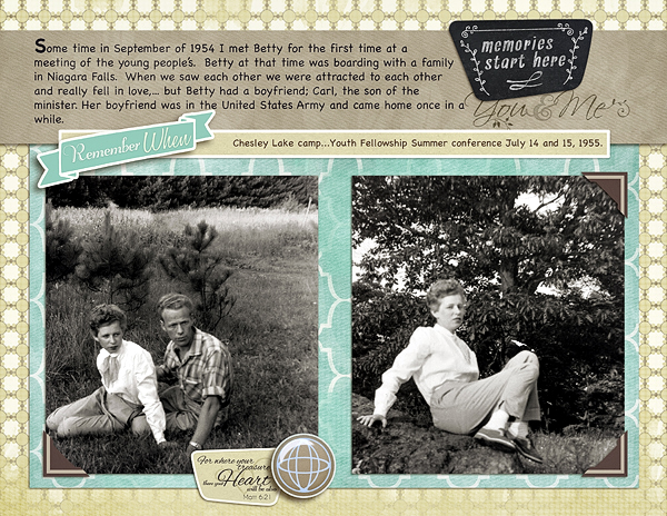 """Remember When"" digital scrapbook layout by Marlene Peacock (see supply list below)"