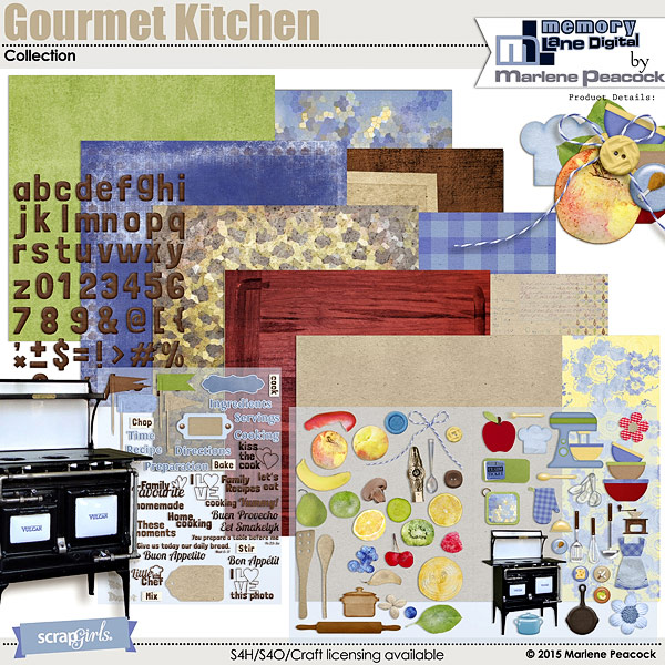 Kitchen Design Layout Template: ScrapSimple Digital Layout Album Templates: 4x6 Gourmet