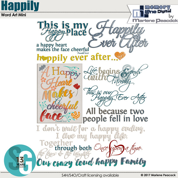 Happily Word Art Mini