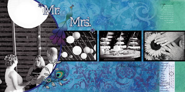 """""""Mr. and Mrs."""" digital scrapbook layout by Shannon Trombley (see supply list below)"""