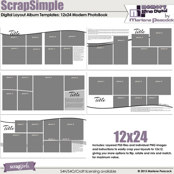 ScrapSimple Digital Layout Album Templates: 12x24 Modern PhotoBook