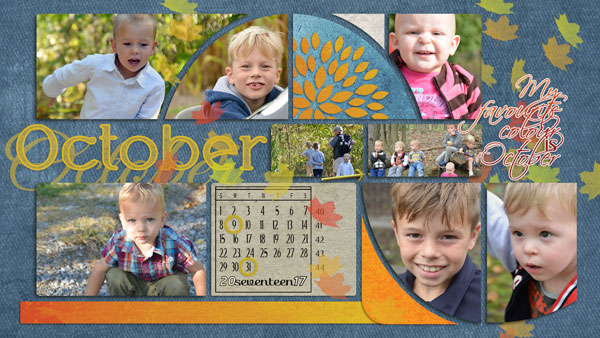 """October"" digital scrapbook layout features Finally Fall Embellishments"
