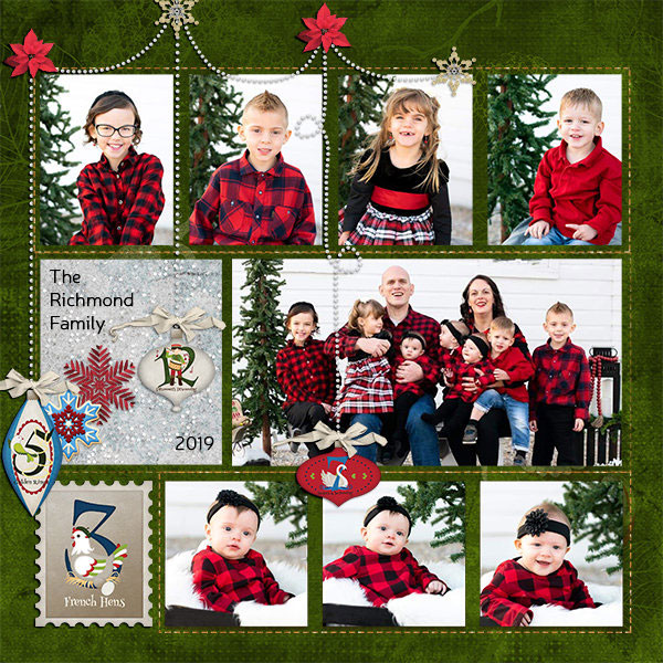 """Richmond Family"" digital scrapbook layout features Pear Tree Collection"