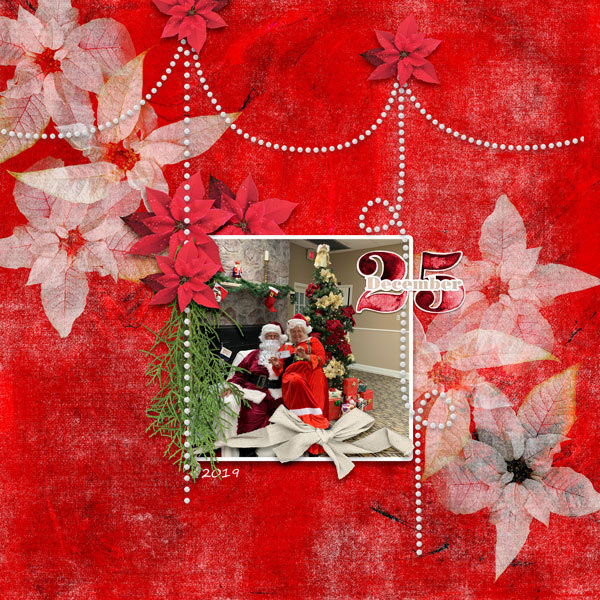 """December 25"" digital scrapbook layout features Pear Tree Collection"