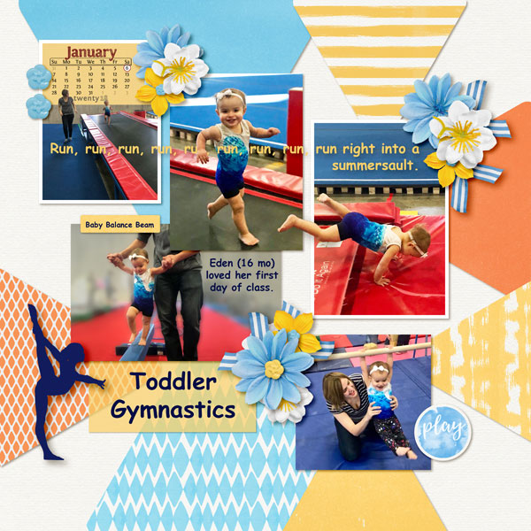 """Toddler Gymnastics"" Layout by Sue Maravelas features Pocket Life Card Templates: 2018 Calendar"