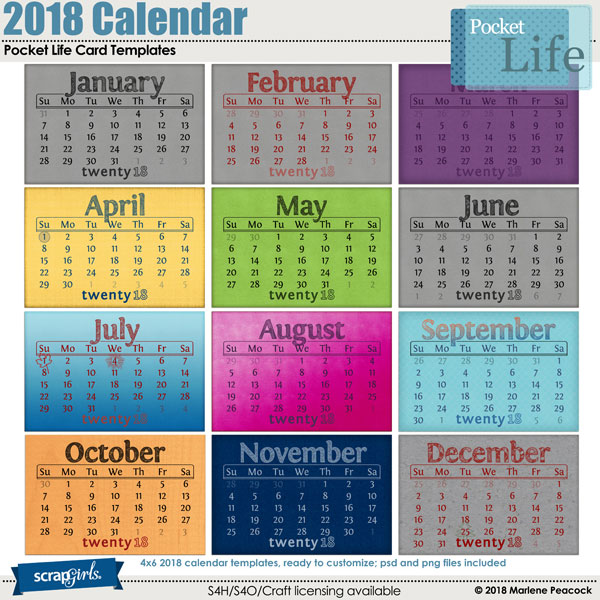 pocket life card templates 2018 calendar