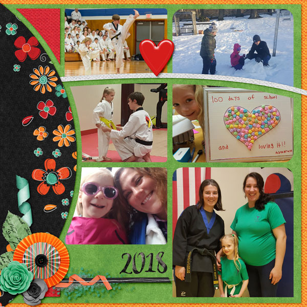 """January"" digital scrapbook layout features ScrapSimple Digital Layout Templates: Scrap It Monthly 4 Series 1"