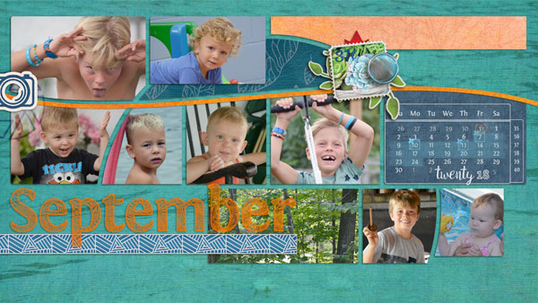 """September"" digital scrapbook layout showcases ScrapSimple Digital Layout Album Templates: Scrap It Monthly 4 Series 3"