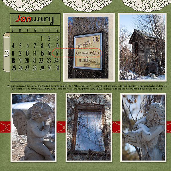 """January"" digital scrapbook layout uses Scrap It Monthly Perpetual Calendar Add-on Embellishment (see supply list below)"