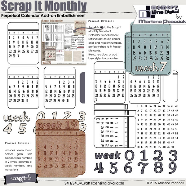 Scrap It Monthly Perpetual Calendar Add-on Embellishment