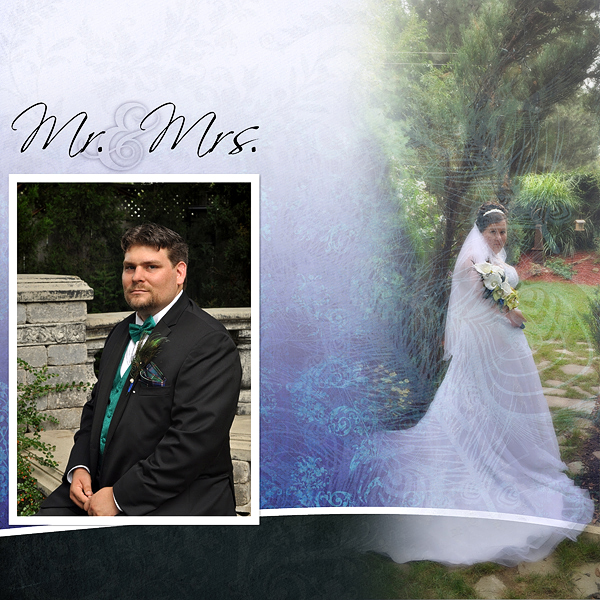 """Mr. and Mrs."" digital scrapbook layout by Marlene Peacock (see supply list below)"