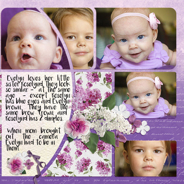 """Sisters"" digital scrapbook layout features ScrapSimple Digital Layout Album Templates: Scrap It Monthly 4 Series 3"