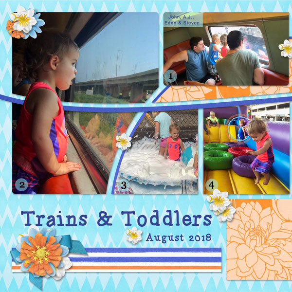 """Trains and Toddlers"" digital scrapbook layout features ScrapSimple Digital Layout Album Templates: Scrap It Monthly 4 Series 3"