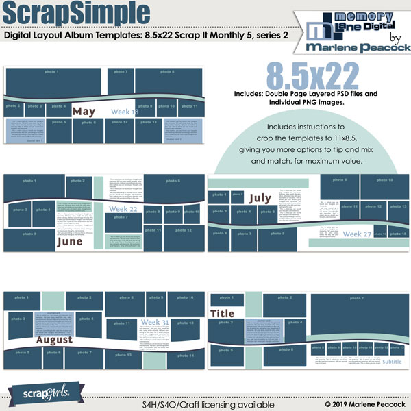 ScrapSimple Digital Layout Album Templates: 8.5x22 Scrap It Monthly 5 Series 2