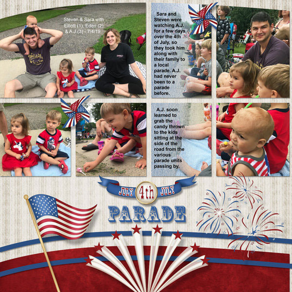 """""""July 4th Parade"""" digital scrapbook layout showcases SSDLAT: Scrap It Monthly 5 Series 3"""