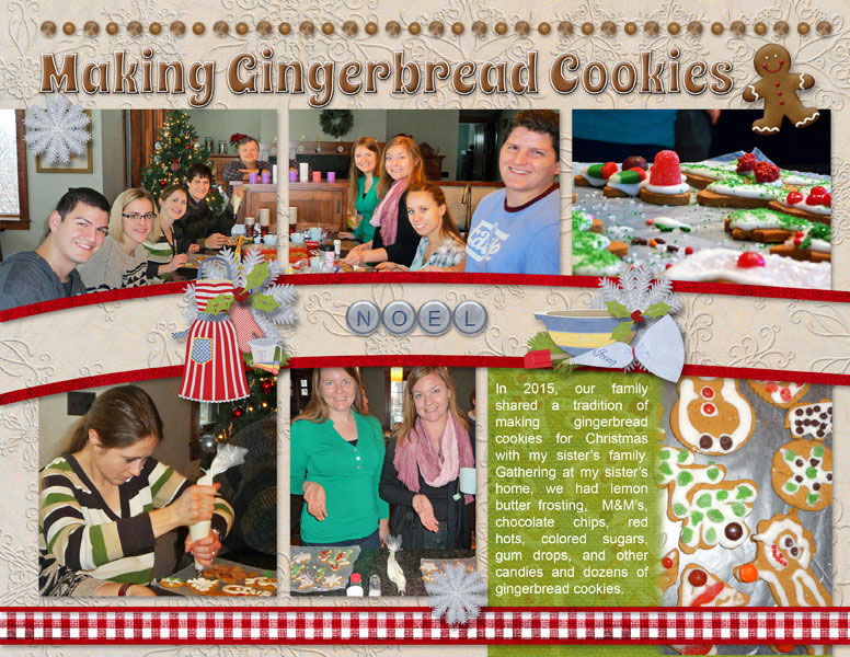 """""""Making Gingerbread Cookies"""" digital scrapbook layout features Value Pack: 8.5x22 Scrap It Monthly 5"""
