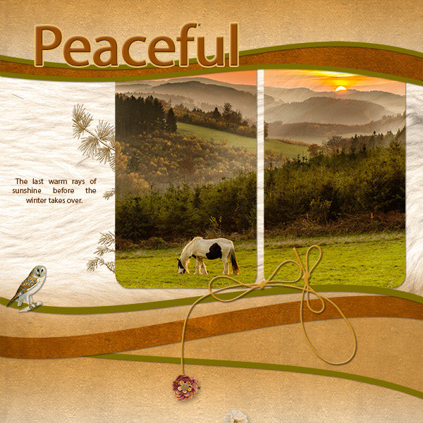 """Peaceful"" digital scrapbook layout features ScrapSimple Digital Layout Templates: Two Curvy"
