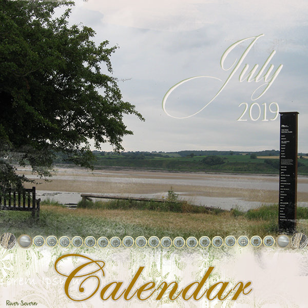 """""""July 2019"""" digital scrapbook layout showcases ScrapSimple Embellishment Templates: Basically Neutral Buttons"""