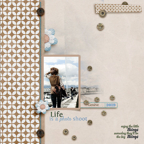 """Life is a Photo Shoot"" digital scrapbook layout features ScrapSimple Embellishment Templates: Basically Metal Buttons"