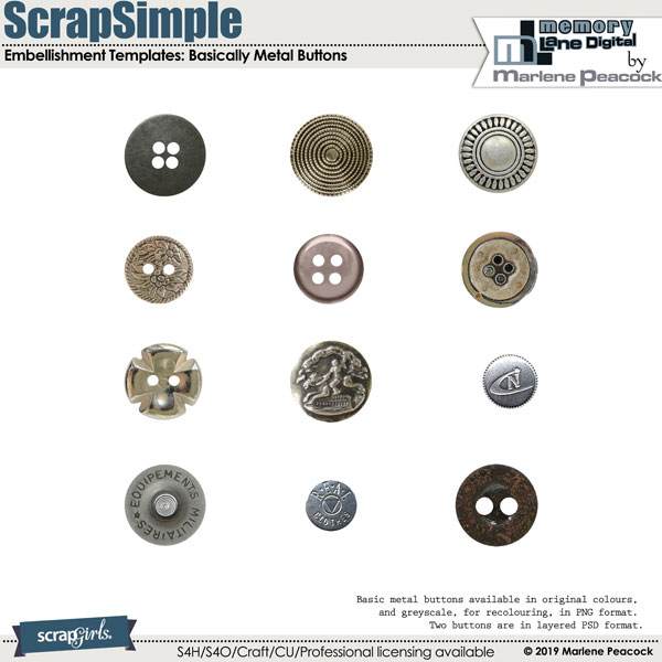ScrapSimple Embellishment Templates: Basically Metal Buttons