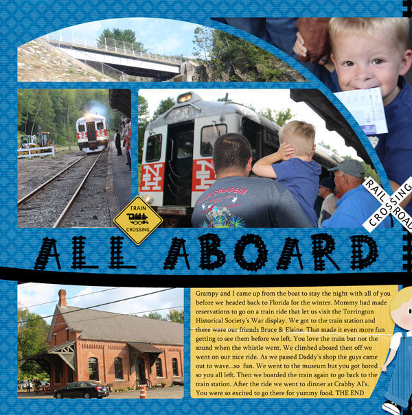 """All Aboard"" digital scrapbook layout features Value Pack: Scrap It Monthly 4"