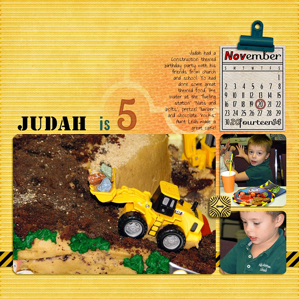 """Judah is 5"" digital scrapbook layout showcases Scrap It Monthly Perpetual Calendar Embellishment (see supply list below)"